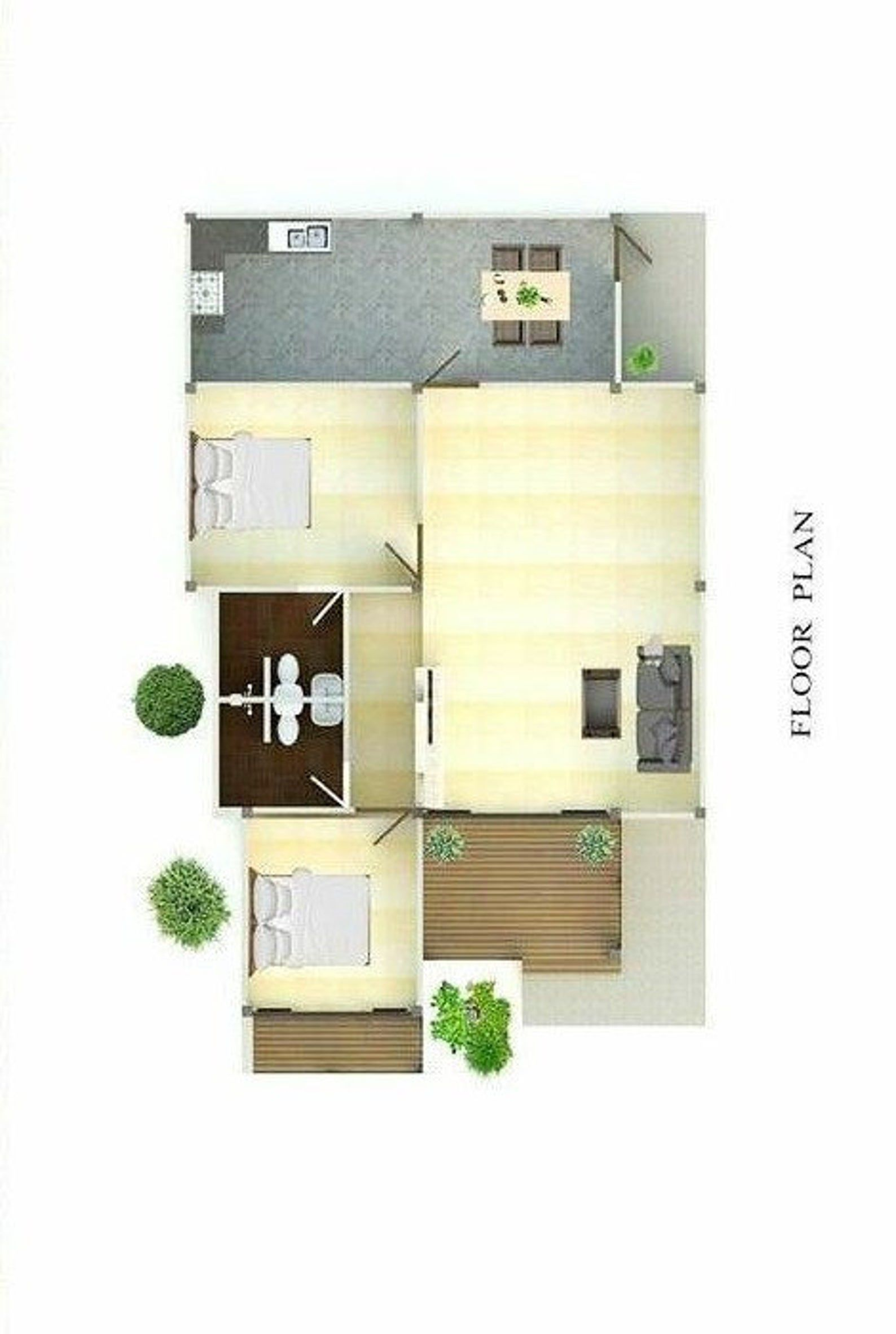 Modern Granny s Tiny House Home Floor Cabin Cottege Building plans 2 Bedroom & 2 bath room with AUTO CAD File