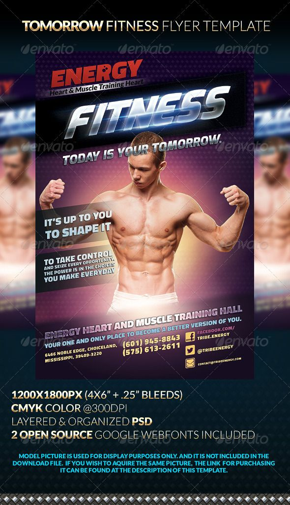 Tomorrow Fitness Flyer Template Flyer template, Template and Fonts - fitness flyer