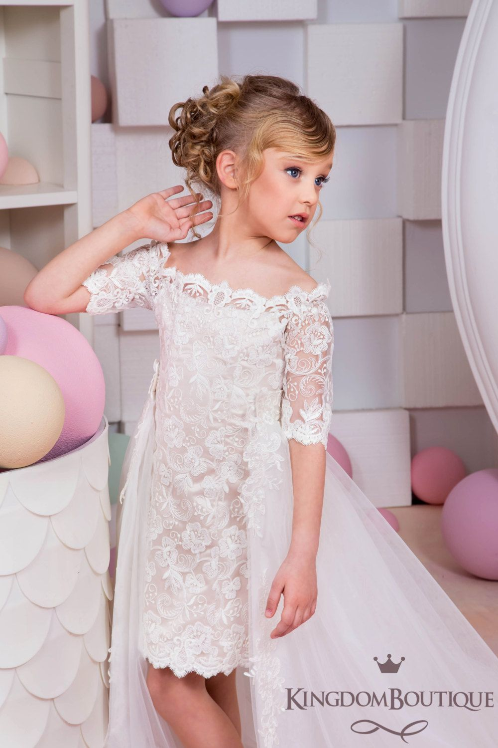 Ivory Cappuccino Flower Girl Dress - Wedding Holiday Party ...