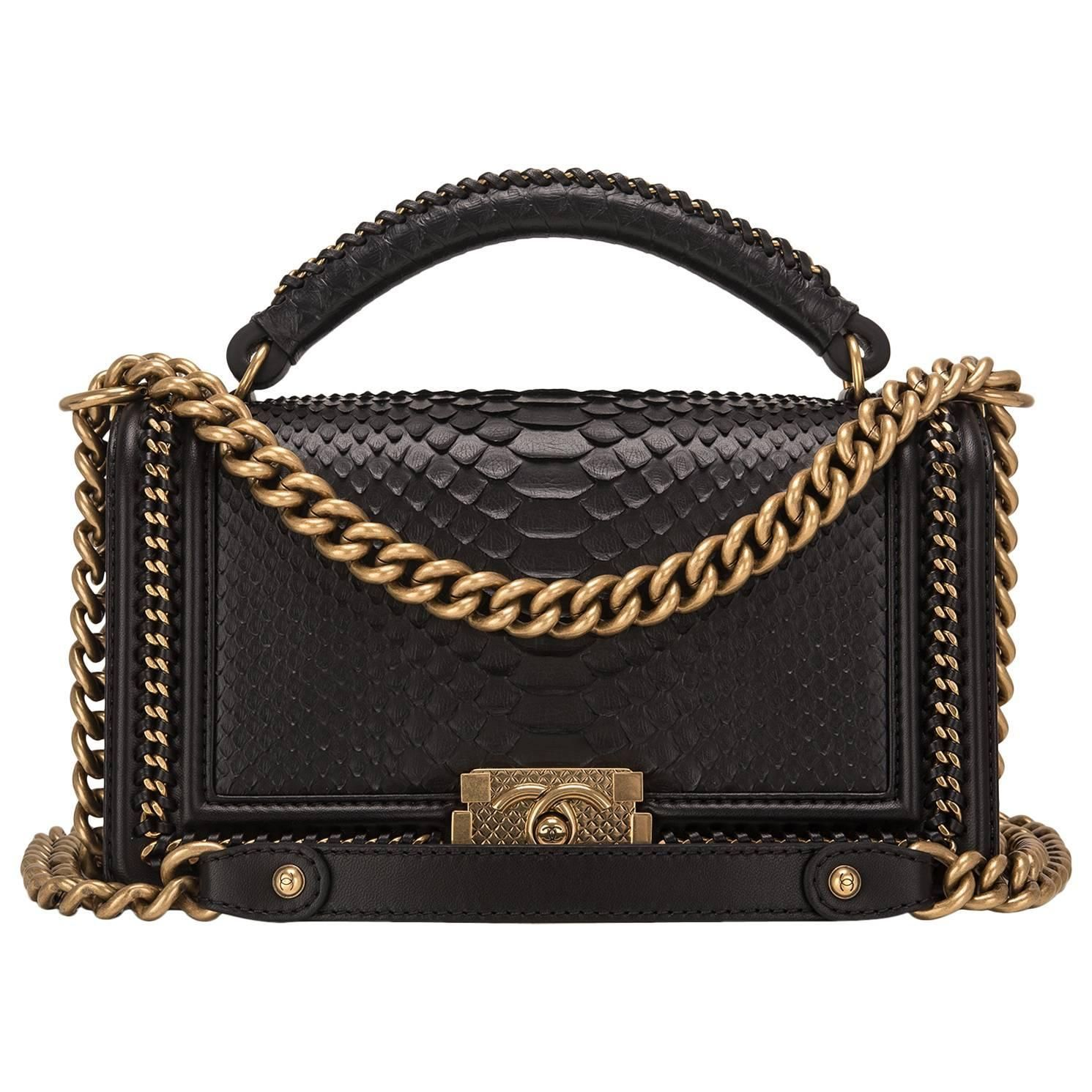 c5b30d84473 Chanel Black Python Medium Boy Bag with Handle   My 1stdibs ...