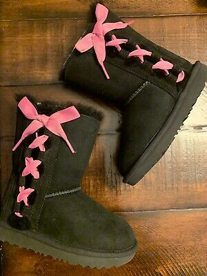 (Sponsored)eBay - New UGG Boots Kids 10 Black w/pink ribbon #uggbootsoutfitblackgirl