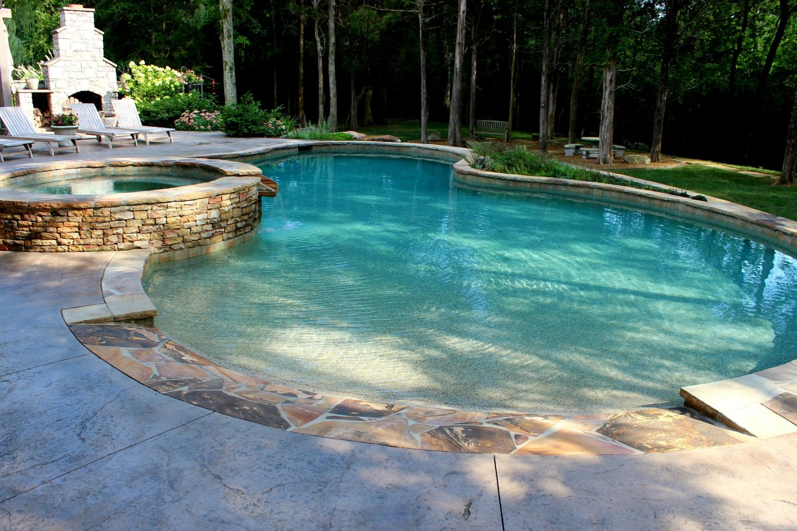 Lenoir City Pool Photos Knoxville Custom Pool Design Gunite Pool With Beach Entry Pools