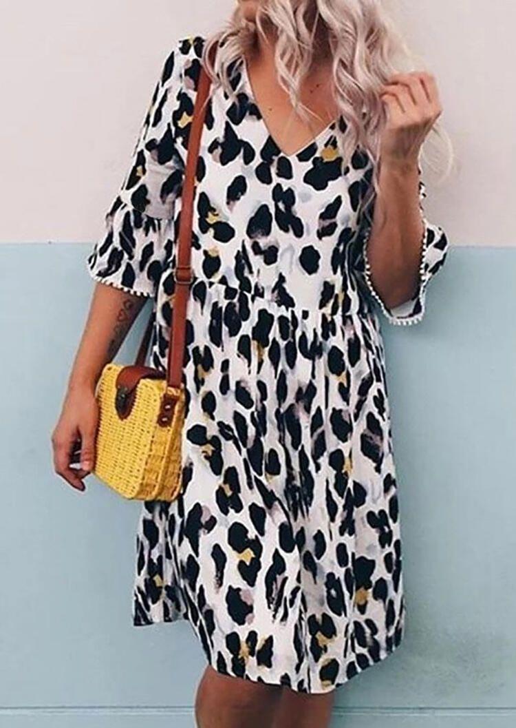 Leopard Printed Ruffled V Neck Casual Dress White Ad Ruffled Affiliate Printed Leo Pink Leopard Print Dress Midi Short Sleeve Dress V Neck Midi Dress [ 1057 x 750 Pixel ]