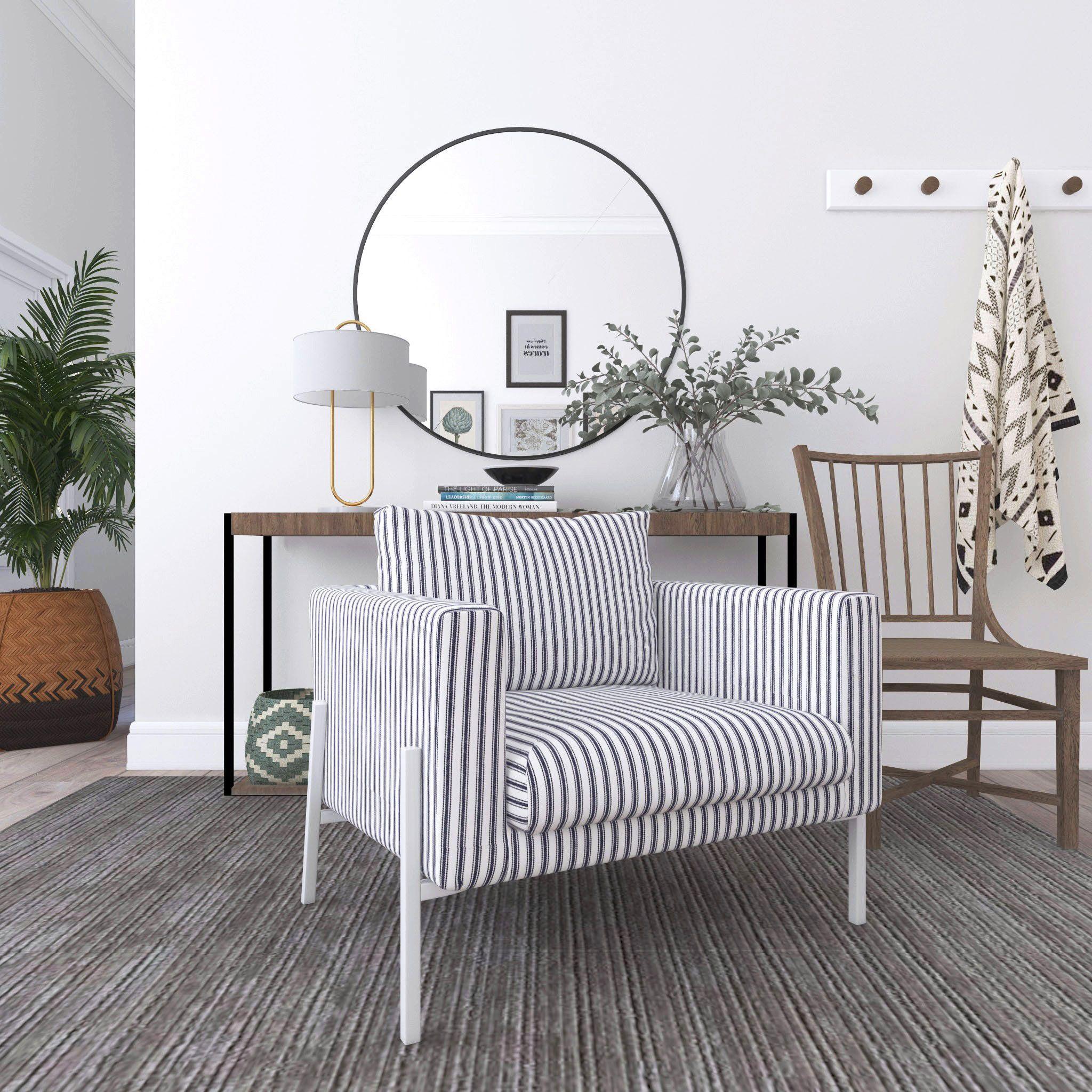 IKEA KOARP Armchair Covers, Farmhouse Ticking Stripe Dark