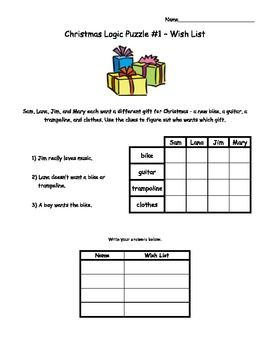 christmas logic puzzles for elementary students - Christmas Logic Puzzles