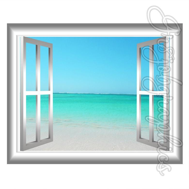 Sandy Beach Scene Wall Art Peel And Stick Decal 3D Window Frame .