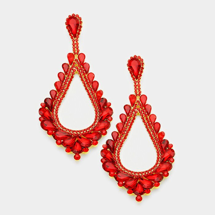 Oversized Cut Out Red Crystal Teardrop Earrings Large Pageant Long 38 There S Tons More At Lmbling Pageantearrings