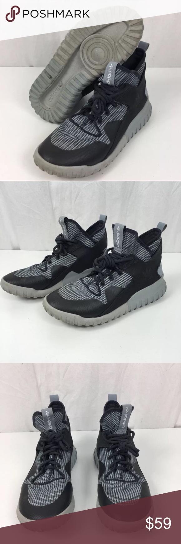 big sale 1fc7e 64cf0 Adidas Originals Tubular X Primeknit Sneakers Adidas Originals Men s  Tubular X Primeknit Sneakers Shoes Carbon Grey AF6368 Size 9 High top shoes  that fuse ...