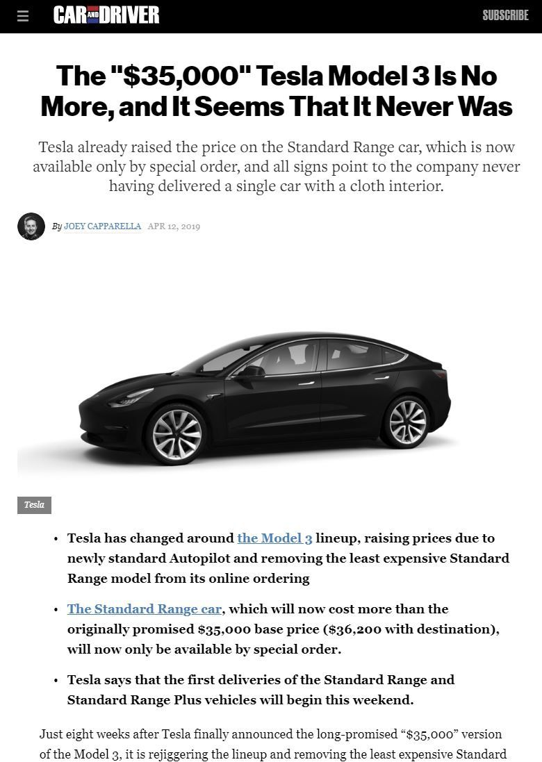 Surprise The 35 000 Tesla Model 3 That S Finally Shipping Not Any More This Site May Earn Affiliate Commissions From T Tesla Model Tesla Automobile Industry