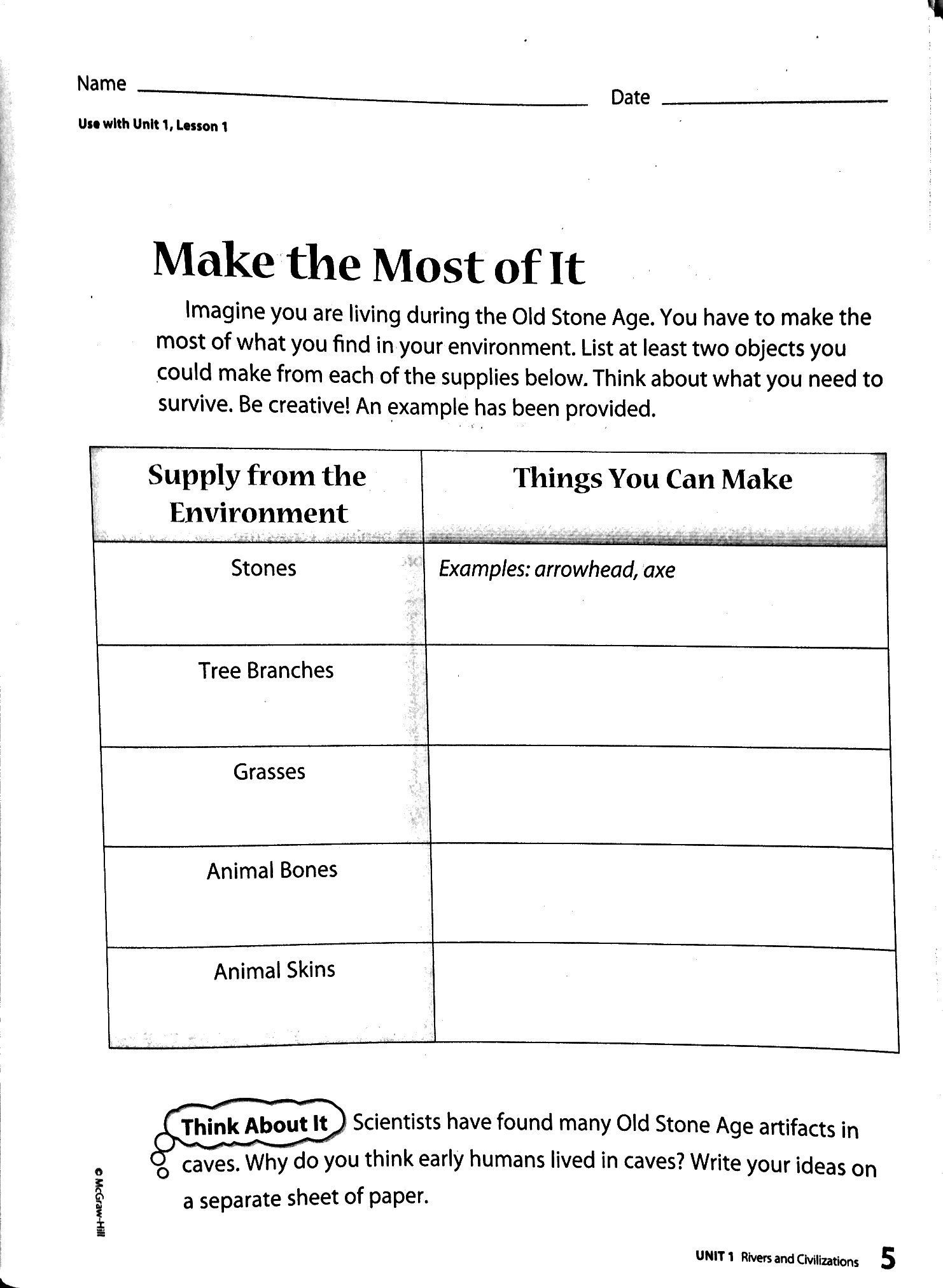 Chapter 1 Early People 6th Grade Worksheets Lesson Plans Chapter