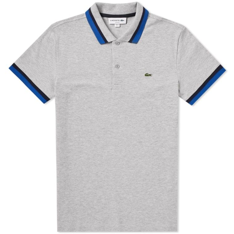 34fc34e3caf7d Lacoste Tipped Polo Grey   Navy 1   POLOS N  SHIRTS   Pinterest