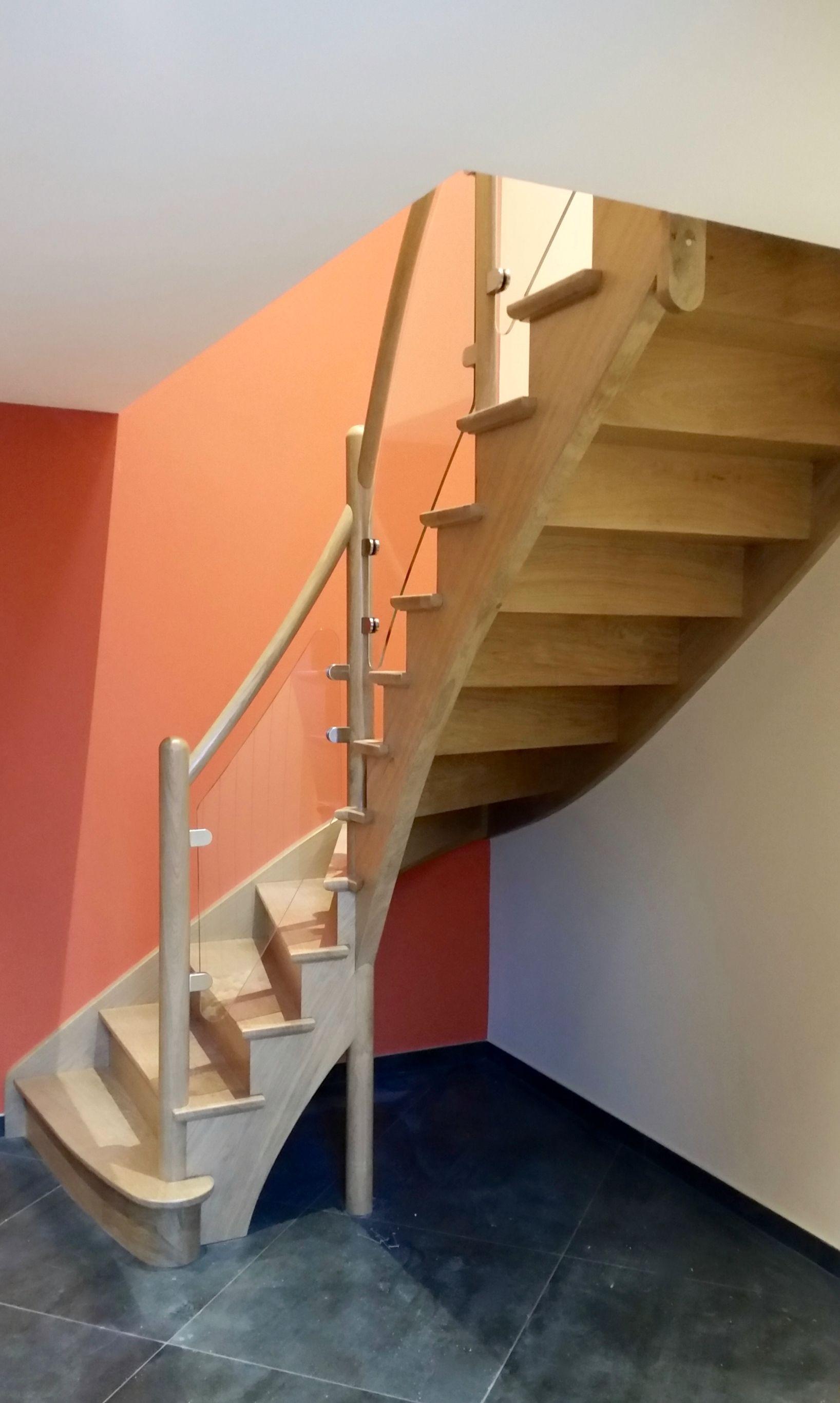 escalier 1 4 tournant l 39 anglaise avec garde corps en verre feuillet escaliers l 39 anglaise. Black Bedroom Furniture Sets. Home Design Ideas