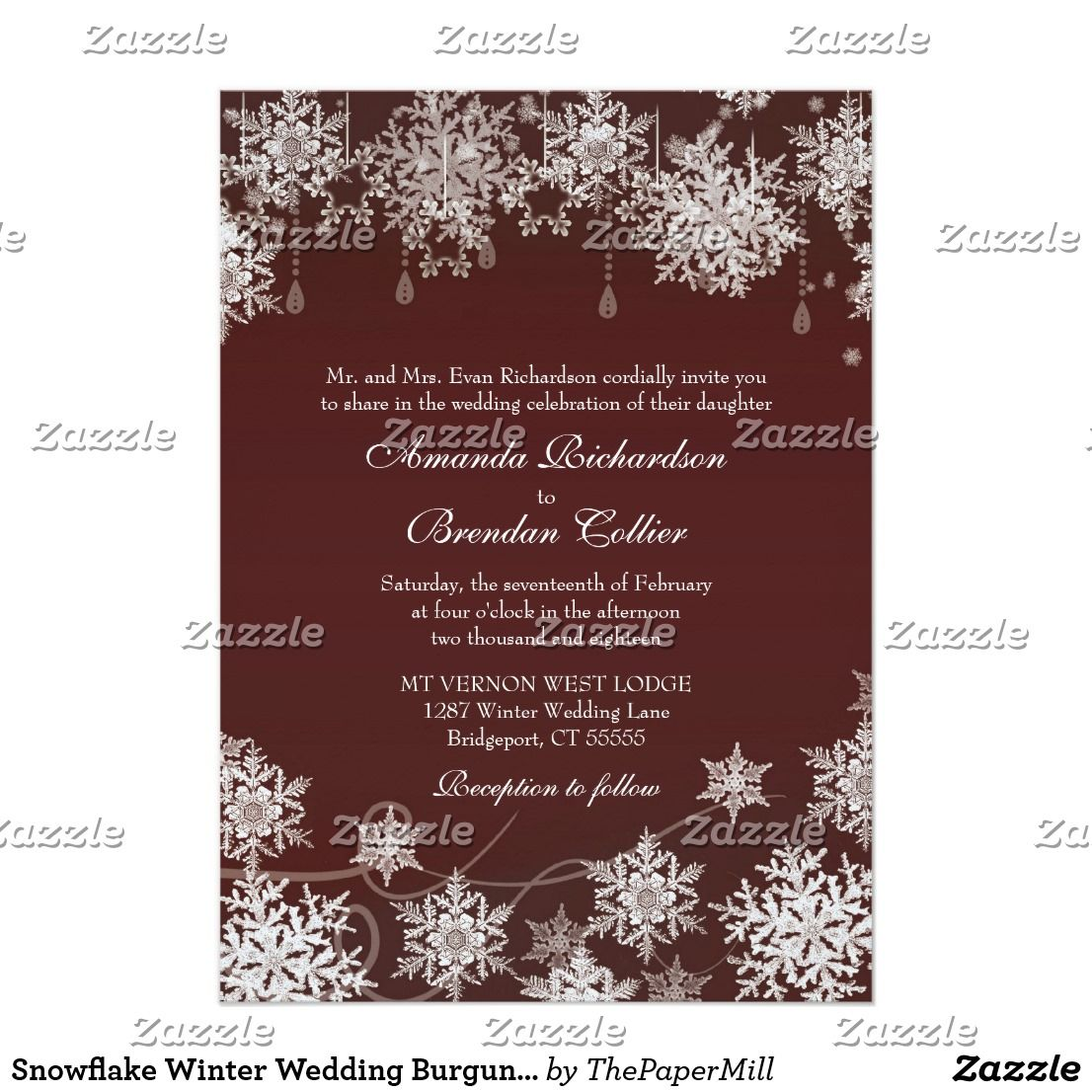 Snowflake Winter Wedding Burgundy Red and White Invitation | Wedding ...