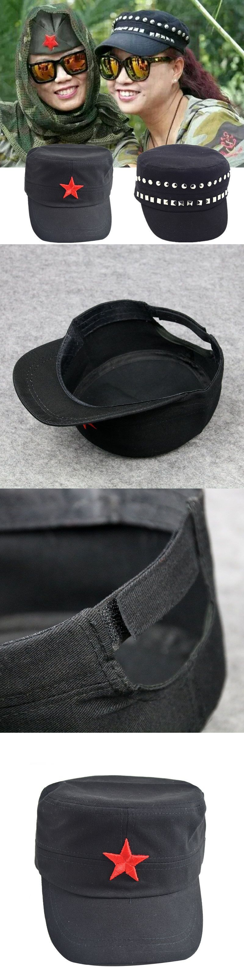 6e8c82138fb 3D Red Star Embroidery Bone Military Cap Black Army Green Flat Top Hats for couple  Men
