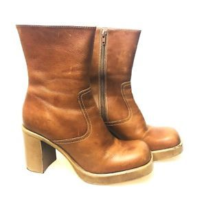 99f4c125dac Vintage 10 M Steve Madden Brown Leather Boots Zip Platform Liberty Chunky  Heels