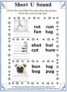 Short U Sound Worksheets - Circle the word that describes the ...