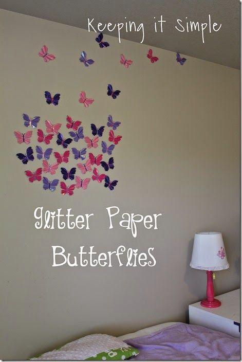 Little Girl S Decor Idea Glitter Paper Butterflies Glitter