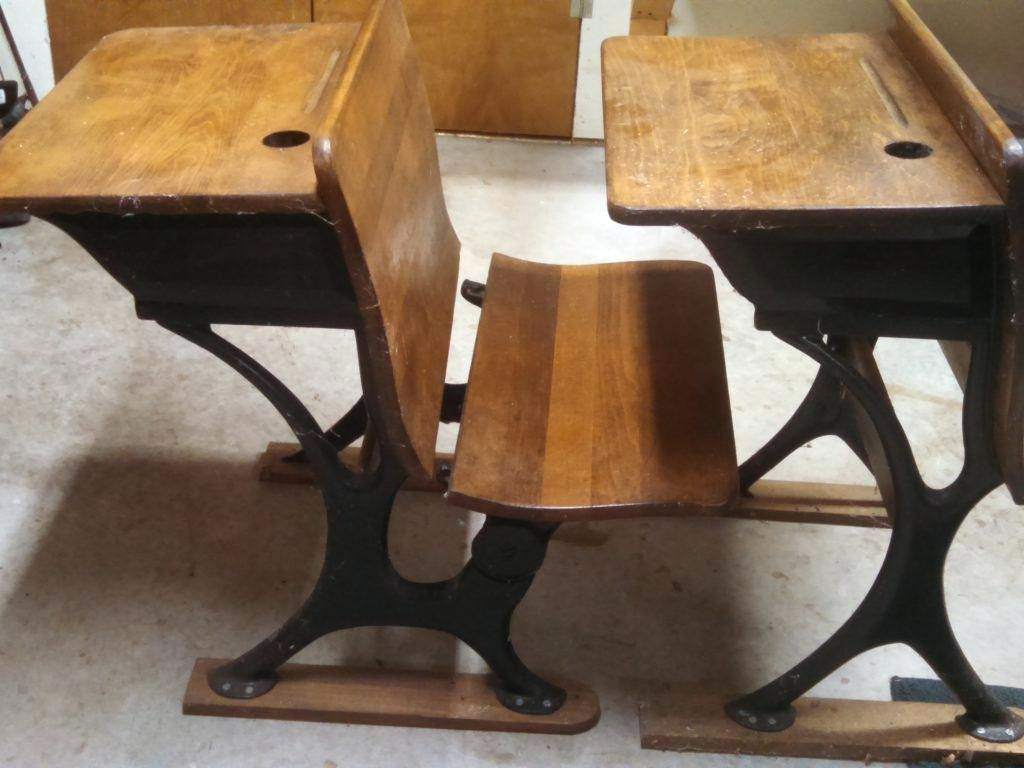 vintage school desk with chair attached