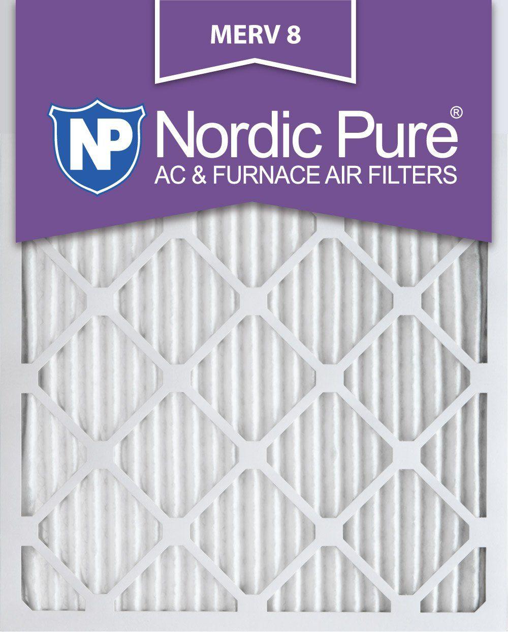 Nordic Pure 20x25x1M86 MERV 8 Pleated AC Furnace Air