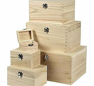 Wooden Craft Boxes To Decorate 6 Stacking Light Wood Boxes To Decorate Sizes Up To 28X21X15Cm