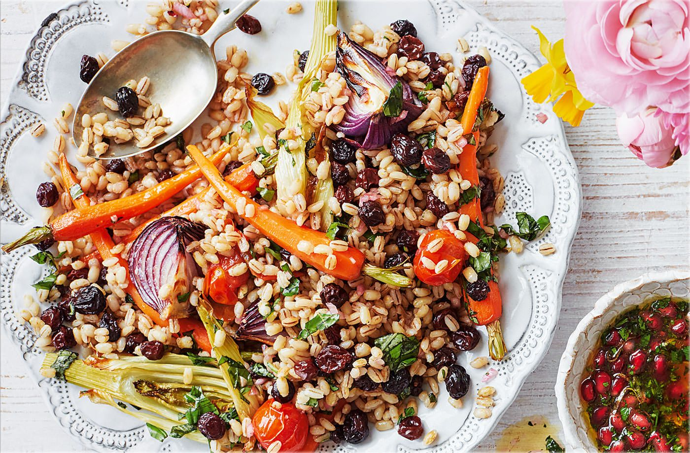 Roasted vegetable pearl barley with honey vinaigrette recipe healthy recipes forumfinder Image collections