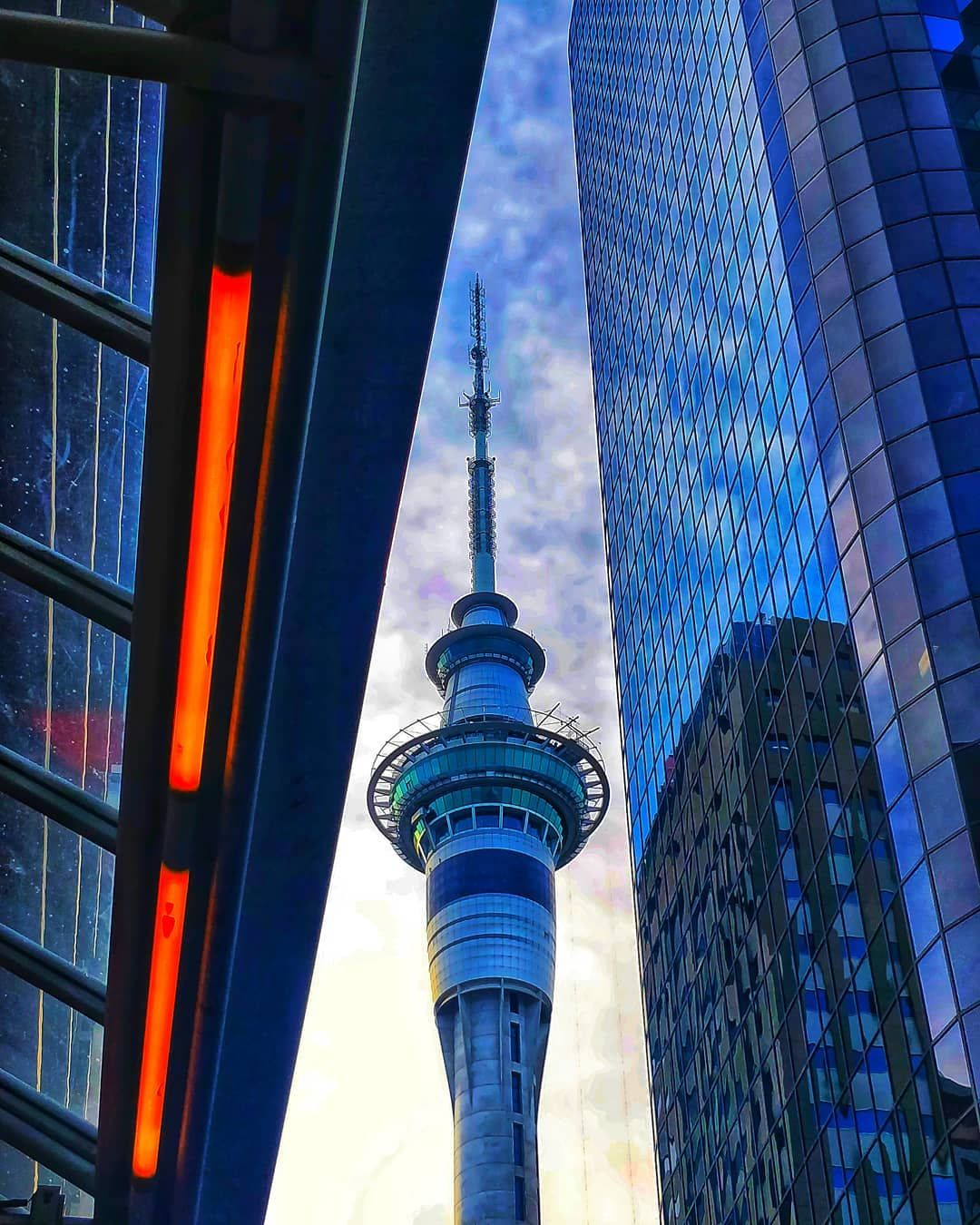 A Beautiful View Of Sky Tower At Sunset Auckland Nz Night Sky Photography Beautiful Views Auckland Sunset sky tower lights city night