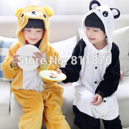 7f469671b9b9 Pijamas de franela niños disfraz de Animal Onesies Cosplay del oso de Panda  de dormir Homewear monos infantiles desgaste(China (Mainland))