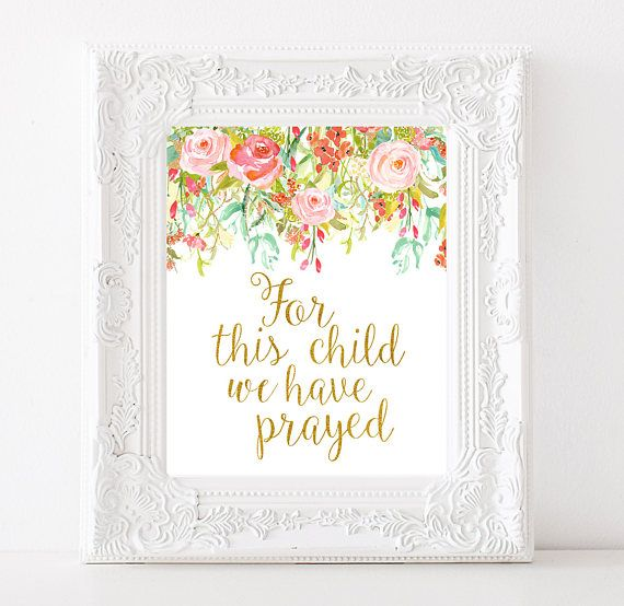 For This Child We Have Prayed Bible Verse Art Girlu0027s · Baby Shower ...