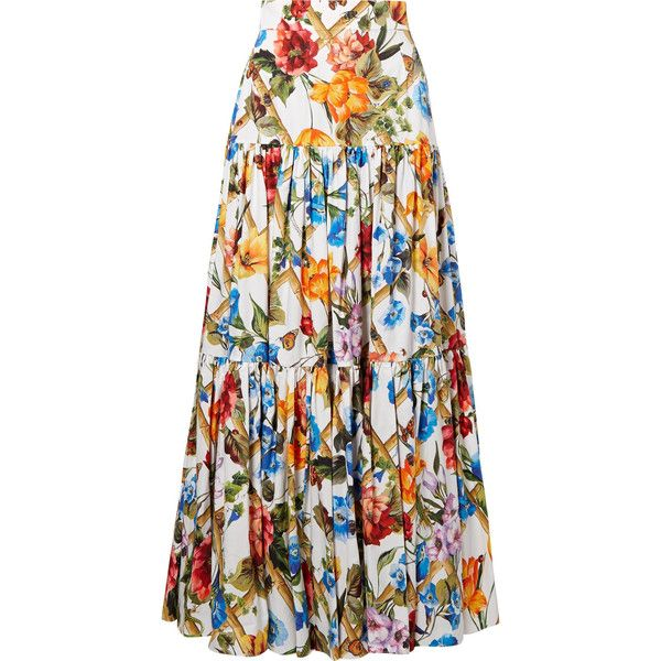 3c7f20001f7e9 Dolce   Gabbana Tiered floral-print cotton-poplin maxi skirt found on Polyvore  featuring skirts