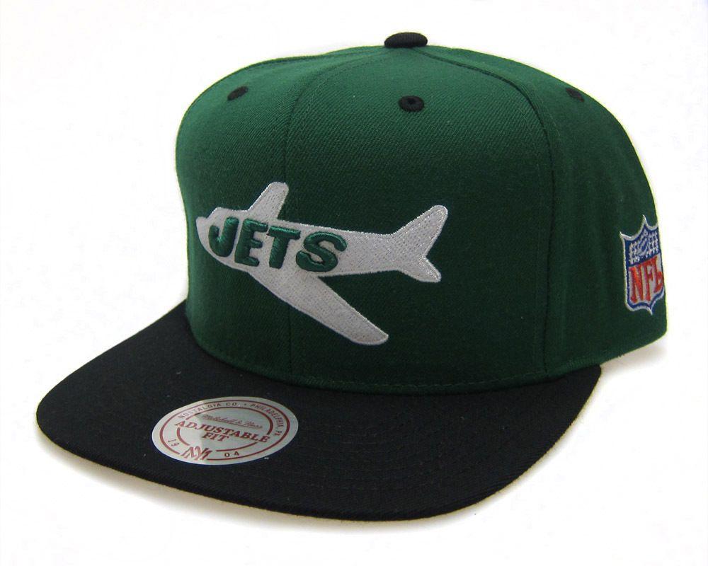 Mitchell & Ness New York Jets NFL Throwback Logo Green / Black Snapback Hat Cap | eBay