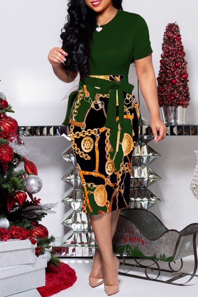 d42c6c5753f Casual Print Patchwork Short Sleeve Belted Midi Dress – WHATWEARS ...