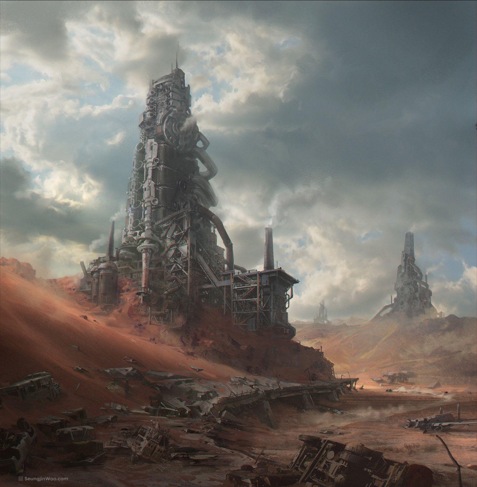 Motor City Seungjin Woo Post Apocalyptic Art Sci Fi Concept Art Environment Concept Art