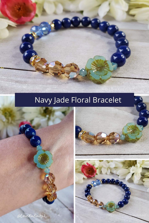 Jade /& Navy glass crystal stretch bracelet