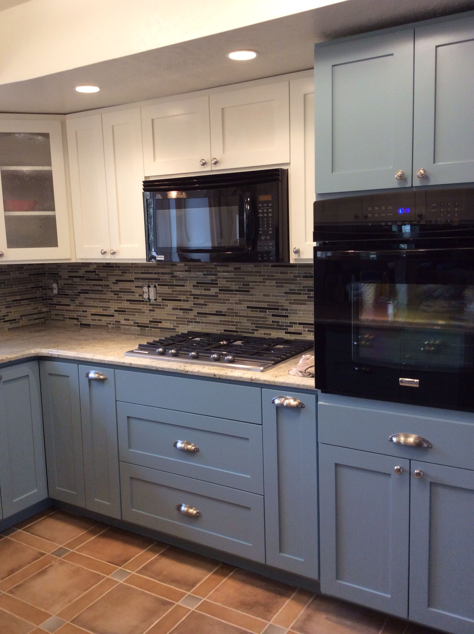 Custom Kitchen With White Upper Cabinets And French Blue Lower Cabinets Granite Top With Glass Mosaic B Upper Cabinets Custom Kitchen Glass Mosaic Backsplash