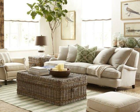 Shore Woven Rattan Coffee Table, Grey (Love This Trunk For Storage In Your  Sunroom