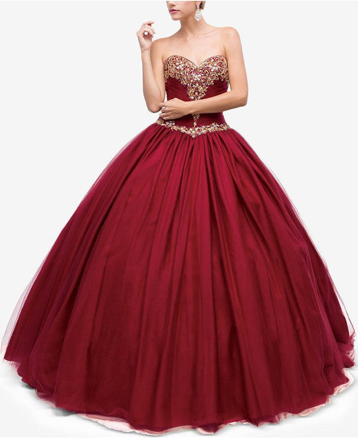 ac93f7e8bcec5 Dancing Queen Juniors' Embellished Pleated Strapless Gown in 2019 ...