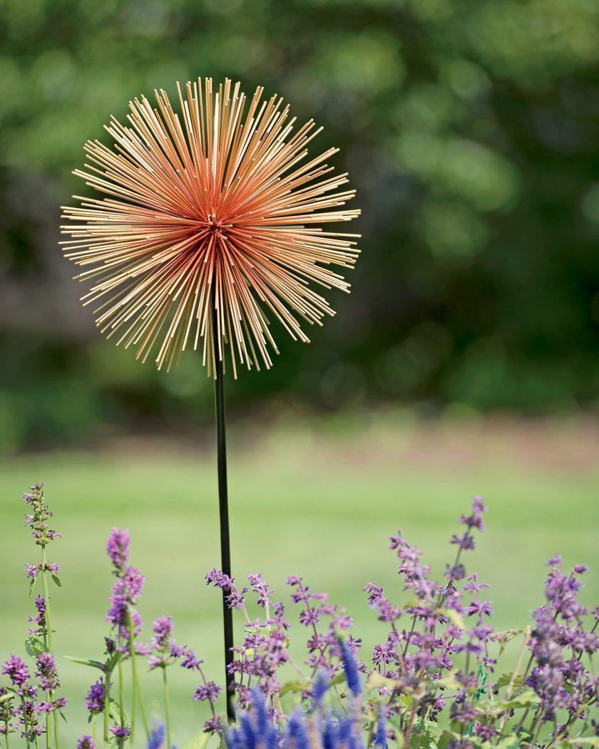 Large Allium Sunburst Stake   Metal Garden Flowers