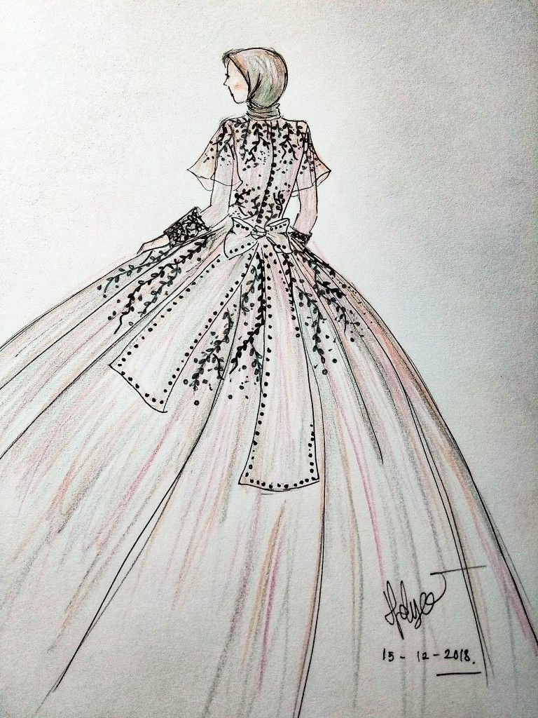 Hijab gown design. #fashion #sketching #sketch #design  Ilustrasi