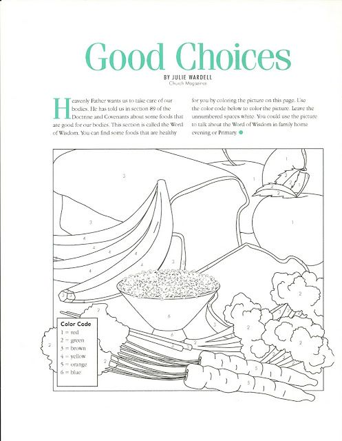 Word of Wisdom coloring pages. | Primary Ideas | Pinterest | Wisdom ...