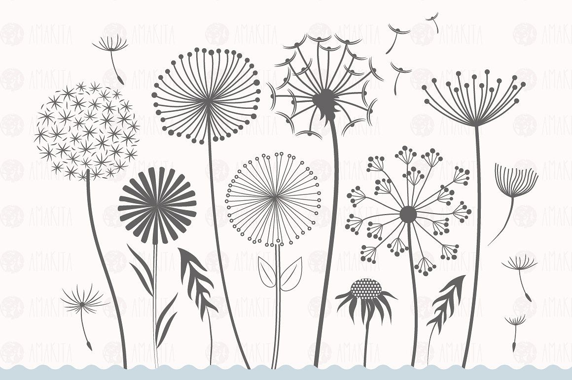 Dandelion Flower Clipart Embroidery Flowers Pattern Hand Embroidery Designs Flower Drawing