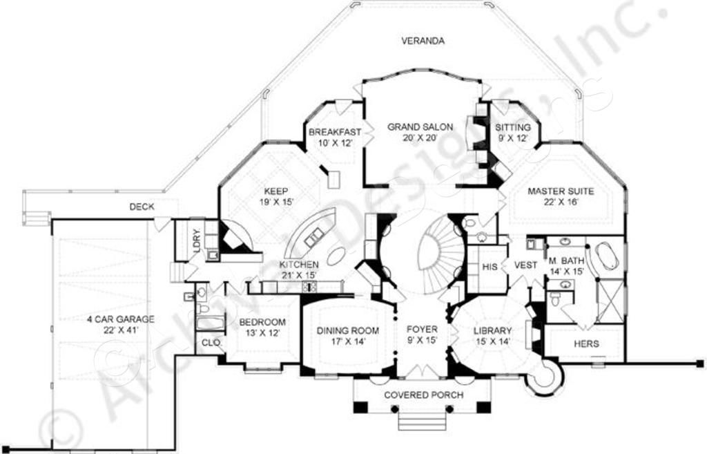 Cashel House Plan Daylight Basement Floor House Plan First   Grand Staircase House Plans   Curved Staircase   3 Car Garage   Acadian Home Interior   Single Story   1800 Square Foot
