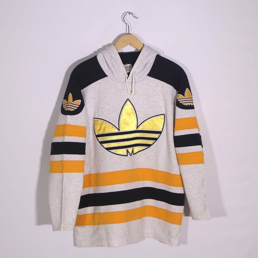 cinta Granjero En la cabeza de  Rare Vintage 80s 90s ADIDAS Hoodie Sweatshirt Long Sleeve Beige Yellow  Black ADIDAS Pullover Jumper Adidas Big…   Sweatshirts hoodie, Adidas hoodie,  Long sweatshirt
