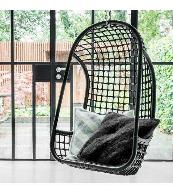 Rotan Hangstoel Zwart.Hk Living Hangstoel Zwart Rotan 55x72x110cm Wonenmetlef Nl