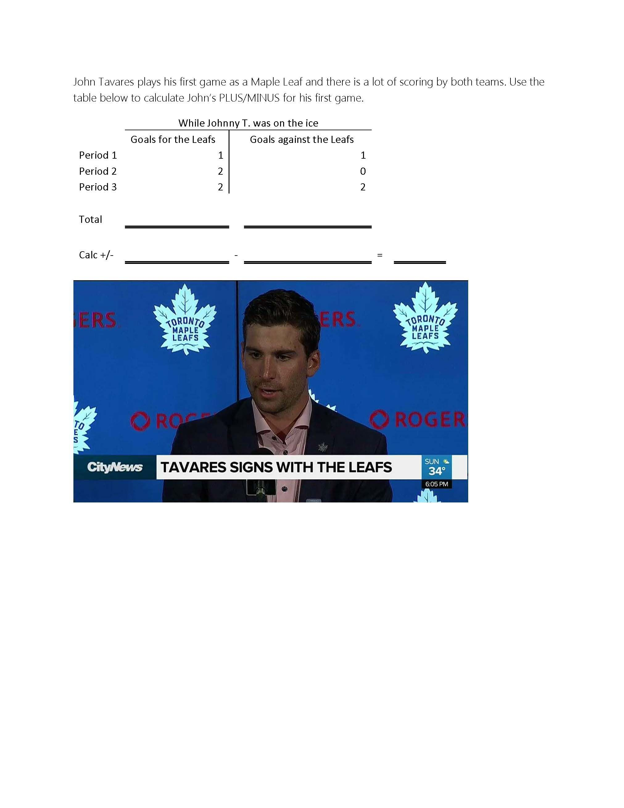 Using John Tavares As An Example On A Math Worksheet The