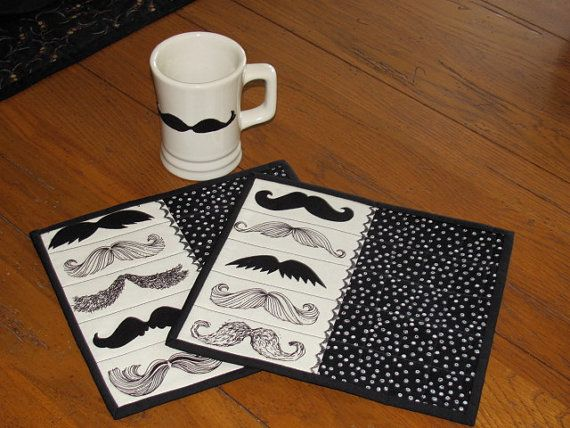 Quilted Mug Rugs Mustache Fabric Man Cave Shabby Chic - Two Mug Mats - Black and Cream