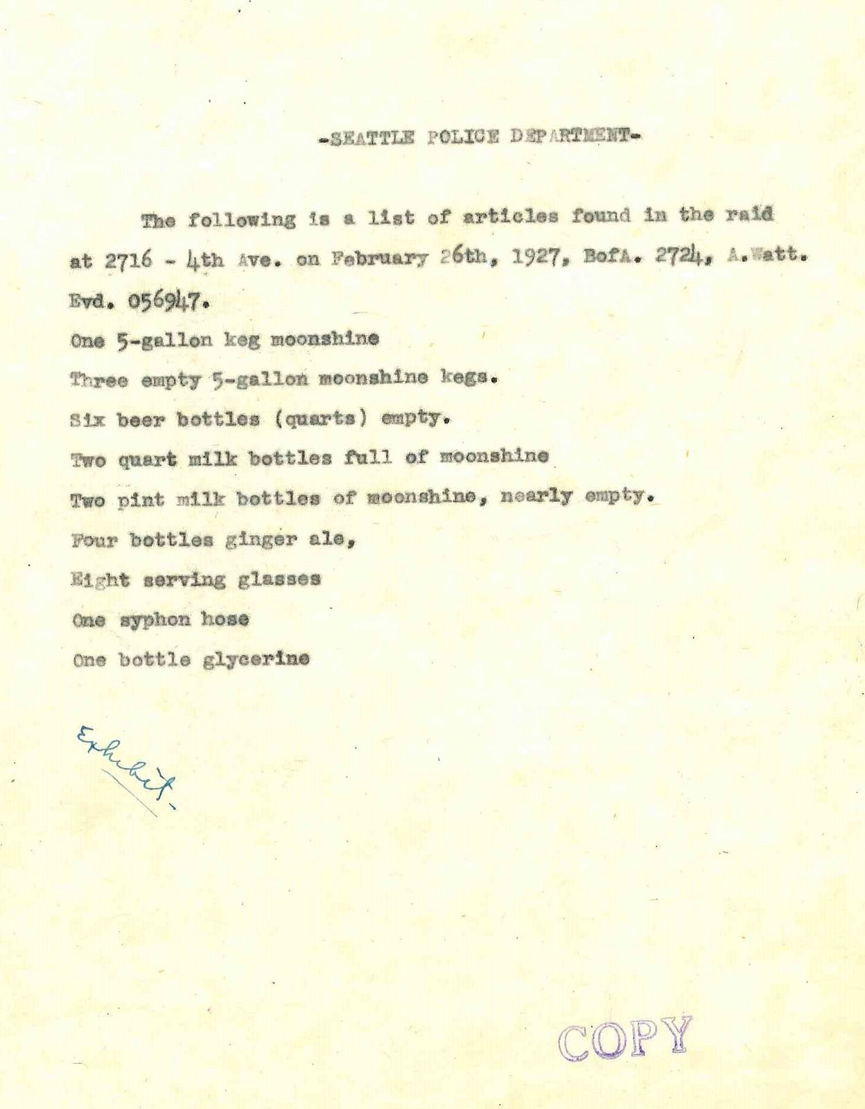 Inventory From Prohibition Raid 1927 Beer Bottle