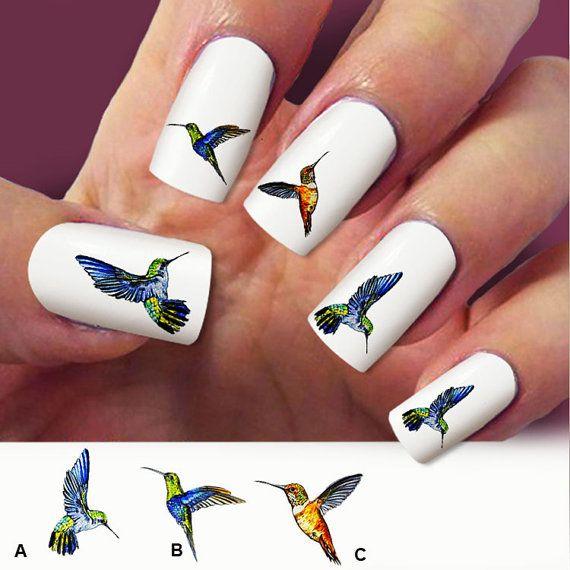 Hummingbird nail art 60 nail decals Humming bird by Marziaforever - Hummingbird Nail Art 60 Nail Decals Humming Bird By Marziaforever