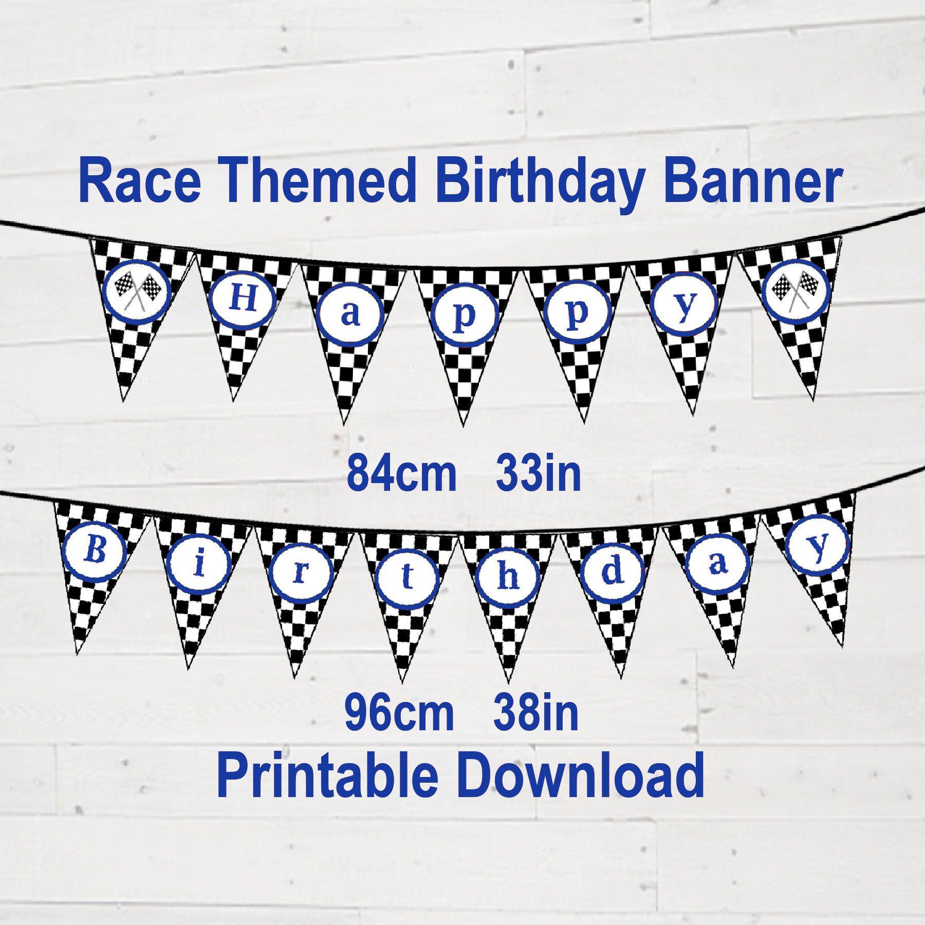 Race Car Theme Happy Birthday Banner Birthday Party