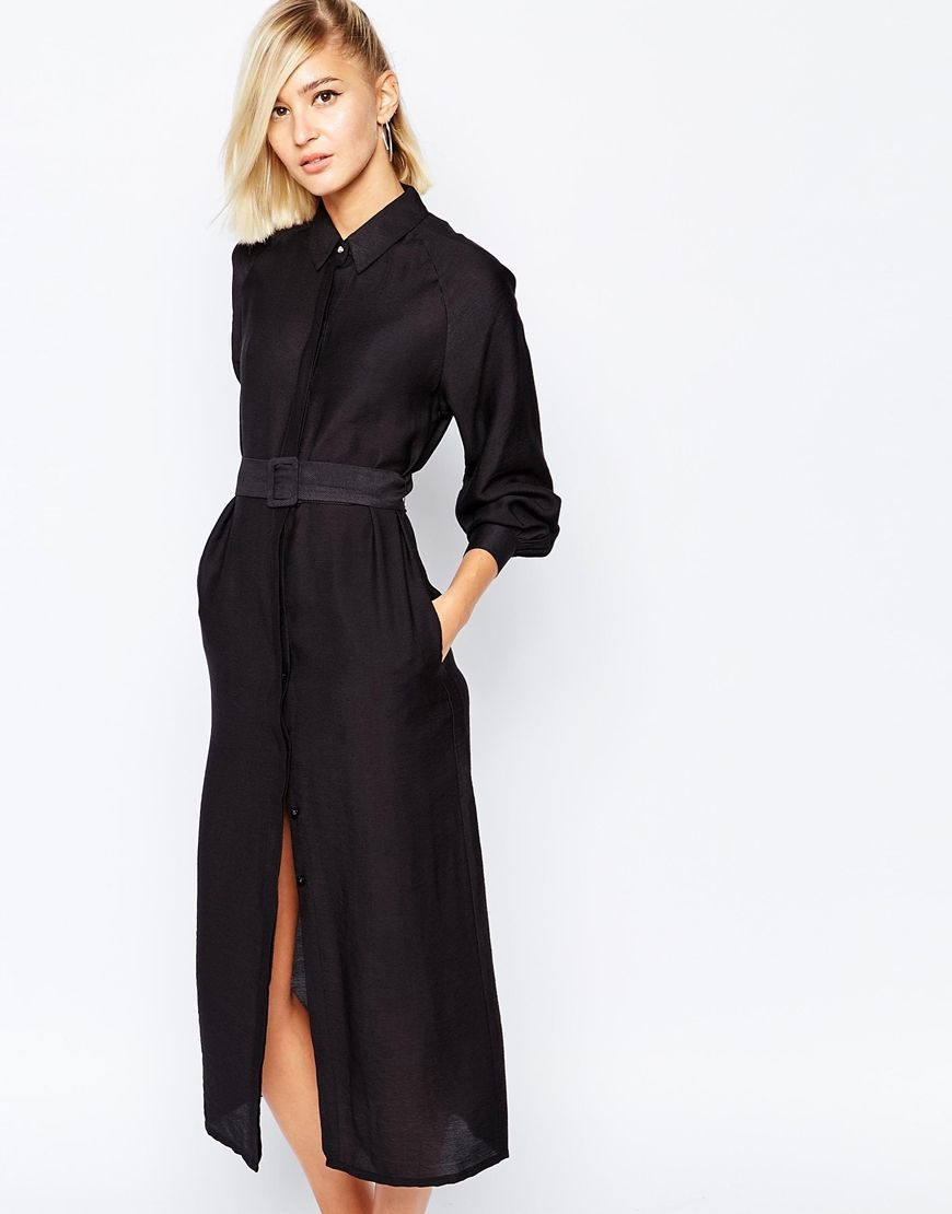 the laden showroom x meekat maxi shirt dress with belted