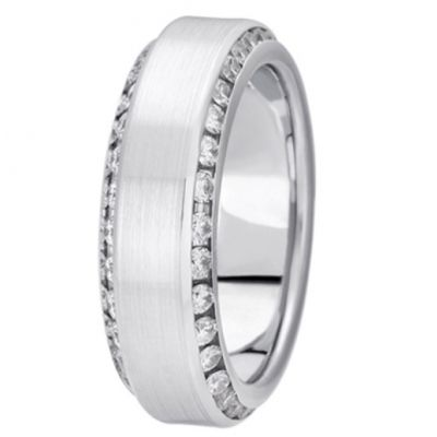 Channel Set Beveled Edge Diamond Band Platinum Diamond Wedding